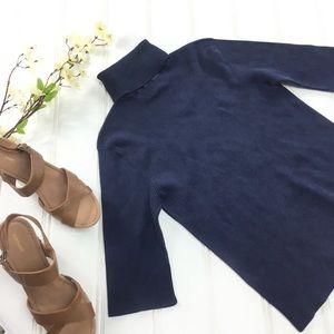 Ralph Lauren Blue Silk Blend Turtleneck Sweater L